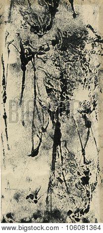 Black and white monoprint