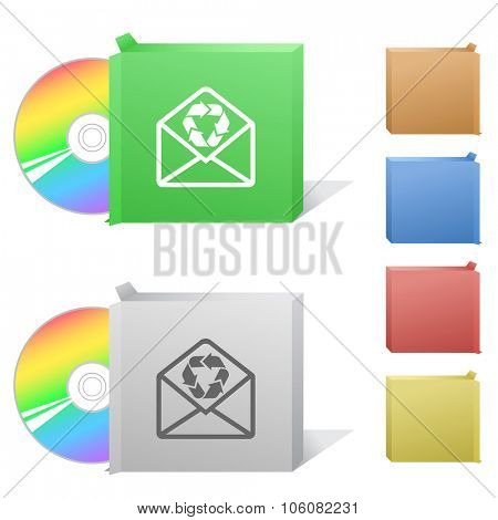 open mail with recycle symbol. Box with compact disc. Raster illustration.
