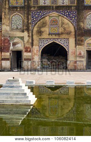 Wazir Khan Mosque Inner Yard With Fountain