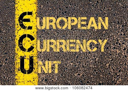 Business Acronym Ecu As European Currency Unit
