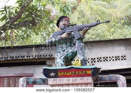 Public Liberation Monument In East Timor Celebrating Independence From Indonesia With A Guerrilla So
