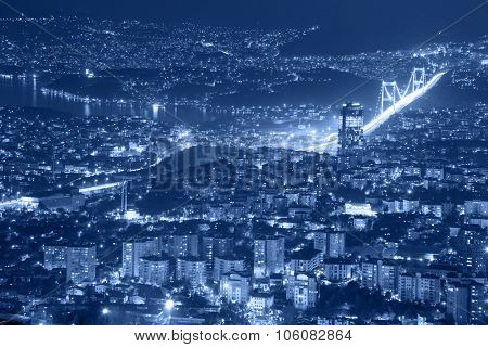 Aerial view of the city downtown, skyscrapers and bridge, Istanbul, Turkey, Europe - Asia, blue toned
