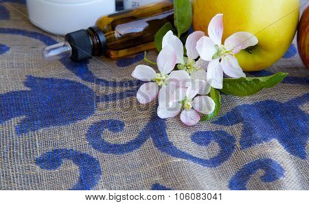 Apple Blossoms With Green Leaves