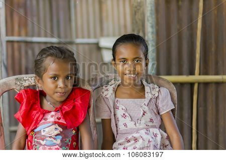 Portrait Of East Timorese Sisters
