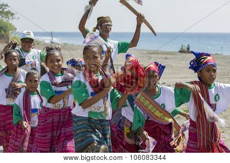 East Timorese Children Wearing Traditional Clothes