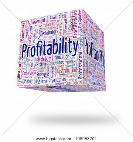 Profitability Word Means Bottom Line And Financial