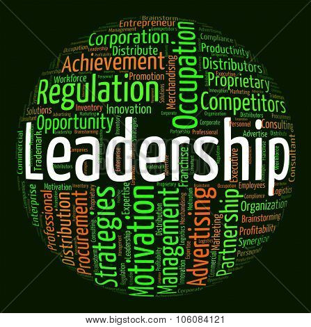 Leadership Word Indicates Control Guidance And Text