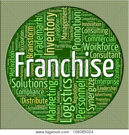Franchise Word Represents Wordcloud Concession And Franchises