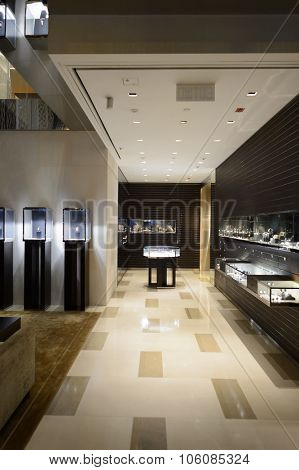 HONG KONG - OCTOBER 25, 2015: interior of the Louis Vuitton.  Louis Vuitton, or shortened to LV, is a French fashion house founded in 1854 by Louis Vuitton.