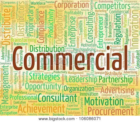 Commercial Word Represents Business Words And Wordclouds