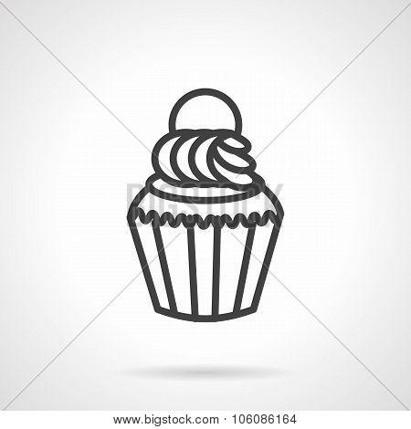 Cupcake simple line vector icon