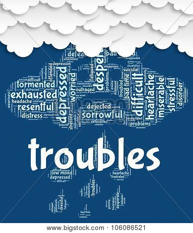 Troubles Word Means Hard Wordcloud And Tough