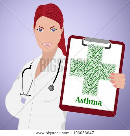 Asthma Word Shows Poor Health And Ailment