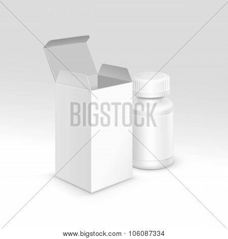 Vector Blank Medicine Medical Packaging Package Paper Box and Plastic Bottle with Cap for Pills and