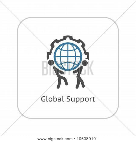 Global Support Icon. Flat Design.