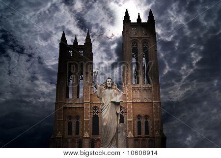 Catholic Church with Jesus Christ statue