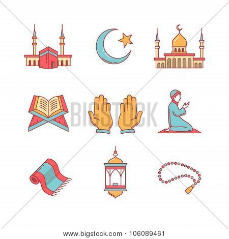 Muslim islam prayer and ramadan kareem