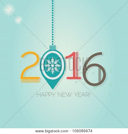 Happy New Year 2016 - Hanging Christmas ornament on blue gradient background