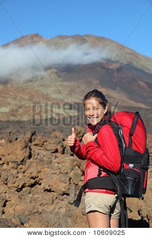 Healthy Lifestyle - Happy Woman Hiker