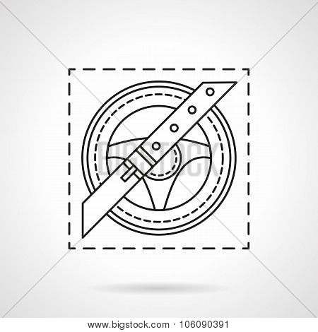 Driver safety flat line vector icon