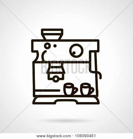 Black line coffee machine vector icon