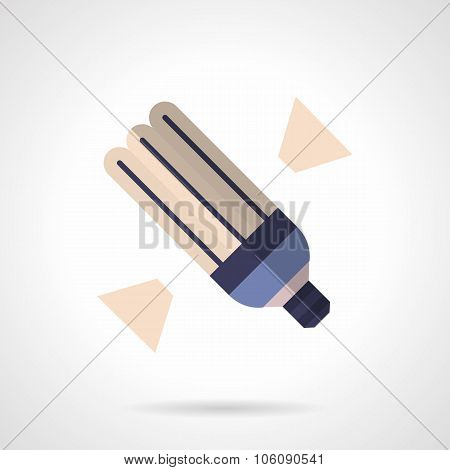 Energy saving lamp flat color vector icon