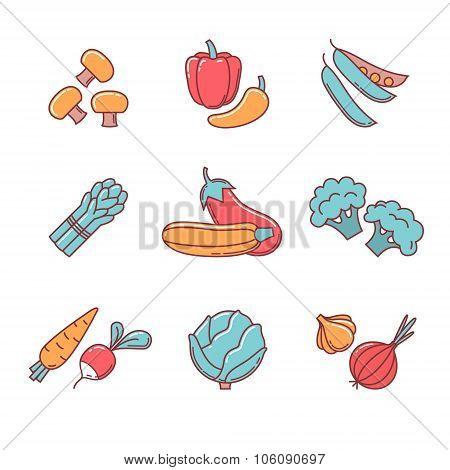 Vegetable icons thin line set