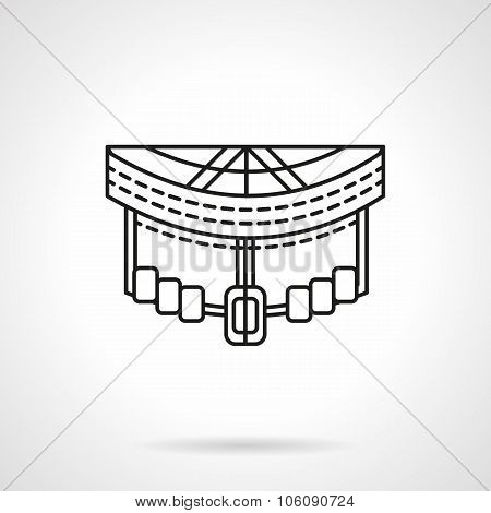 Longboard front abstract line vector icon