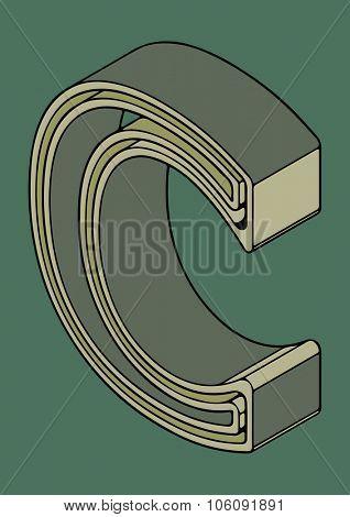 3D alphabet, vector letter C
