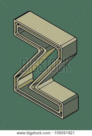 3D alphabet, vector letter Z
