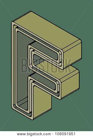 3D alphabet, vector letter F
