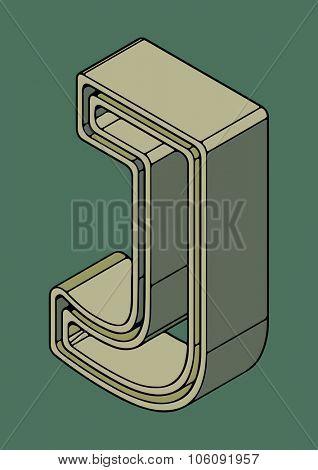 3D alphabet, vector letter J