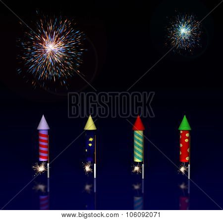 Illustration of Fireworks Rocket with Lit Fuses