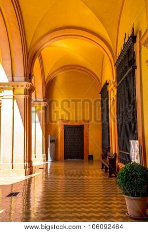 SEVILLE, SPAIN - JUNE 4, 2014 Corridor of Alcazar Royal Palace Seville Andalusia Spain on June 4, 2014. Originally Moorish Fort, oldest Royal Palace in Europe.