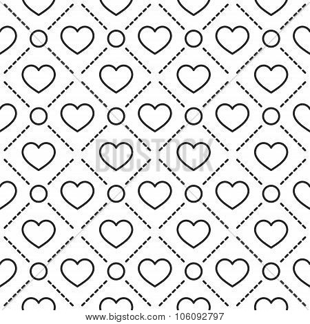 Hearts stripped geometric seamless pattern.