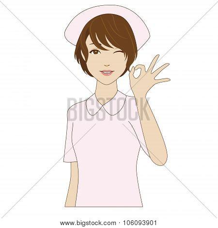 Winking Nurse Posing With Ok Sign