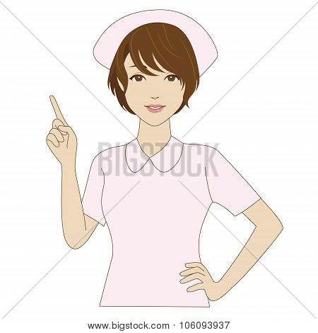 Smiling Nurse Pointing Up With Her Index Finger
