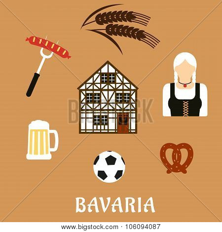 Bavaria travel and objects flat icons