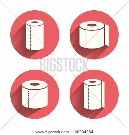 Toilet paper icons. Kitchen roll towel symbols.