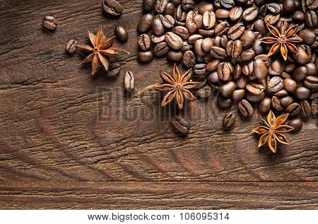 Roasted Coffee And Anise, View From Above