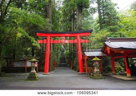 Hakone Shrine (temple)  Japanese Shinto Shrine Entrance Beside Ashi Lake Tokyo Japan Important Touri