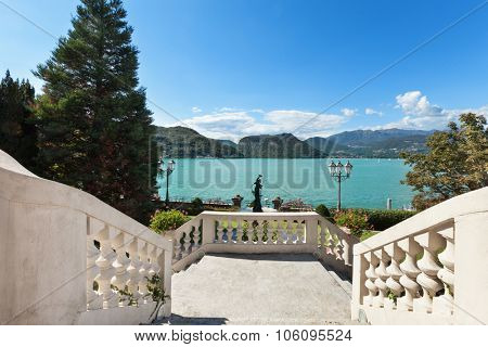 beautiful classical mansion,  grand staircase with lake view