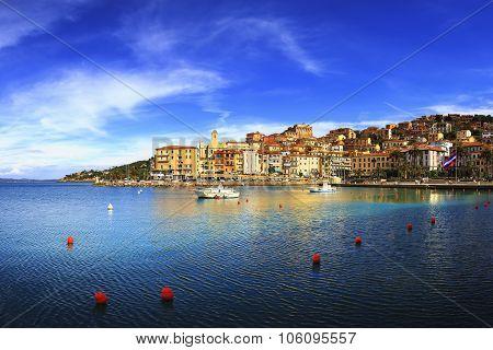 Porto Santo Stefano Seafront And Village Skyline. Argentario, Tuscany, Italy