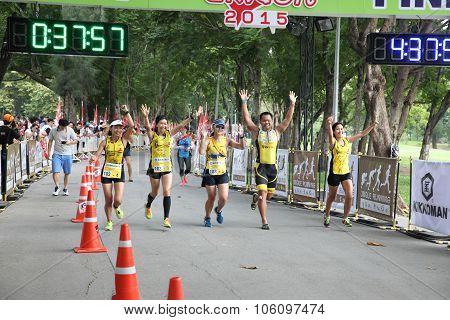 Bangkok - October 23: Unidentified Runners Participates In Ekiden 2015 Marathon Relay Run Fun Forwar
