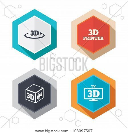 3d technology icons. Printer, rotation arrow.