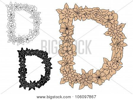 Capital letter D with floral elements
