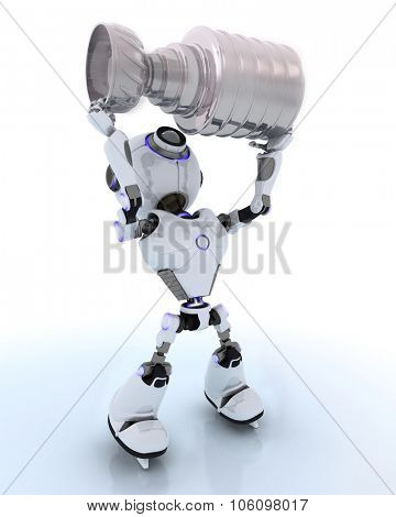 3D Render of Robot ice hockey champion