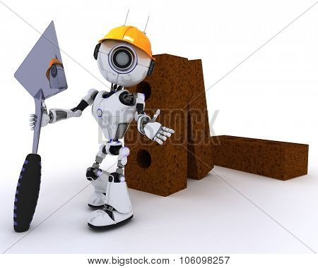 3D Render of a Robot with bricks and trowel