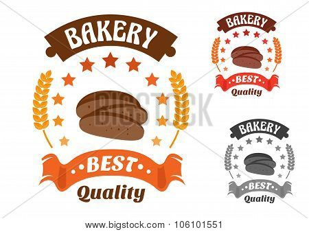 Bakery shop symbol with sliced rye bread