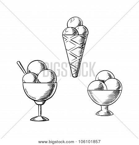 Ice cream waffle cone and sundae desserts